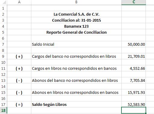Conciliacion bancaria - Reporte general