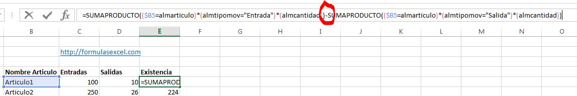 curso excel parte 12 - formula para calcular existencia
