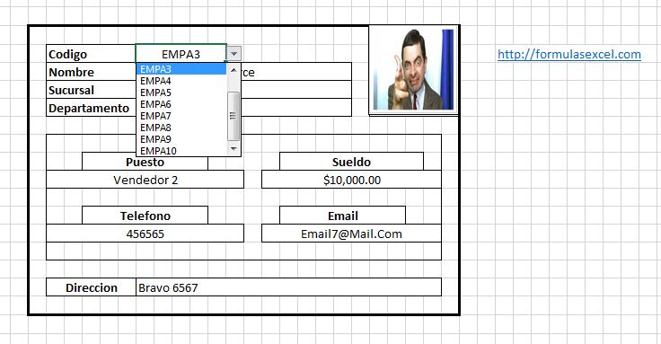 buscador formulas excel - seleccionar empleado