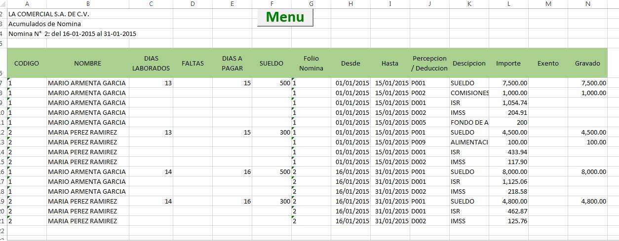 Formato de excel para calculo de nomina 2015 for Formato nomina excel