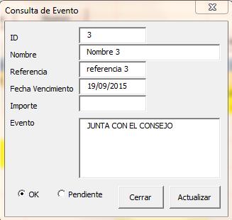 Agenda en Excel - Cambio de Status