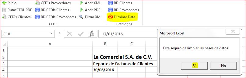 CFDIControl - Eliminar data