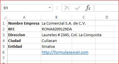 Datos de la empresa CFDI en Excel
