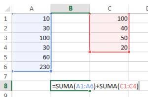formulas de excel para suma de rangos