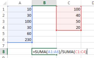 formulas excel para dividir rangos sumados
