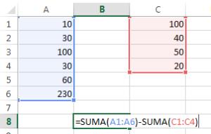 formulas de excel para suma y resta