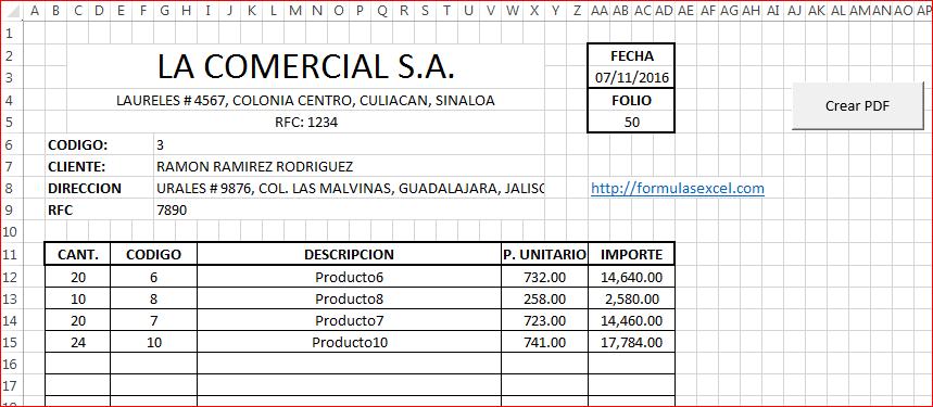 Formato de Cotización en Excel
