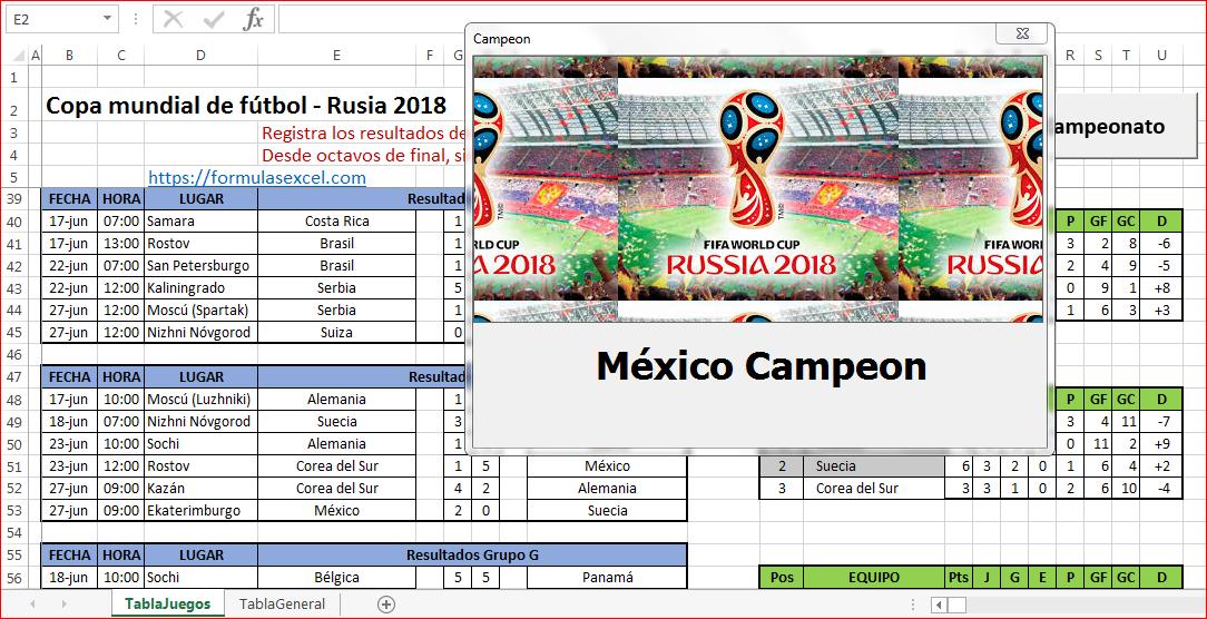 Calendario Mundial Futbol.Calendario Rusia 2018 En Excel Formulas Excel