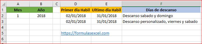 Día hábil de inicio y fin de mes