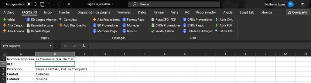 Pago a Proveedores en Excel