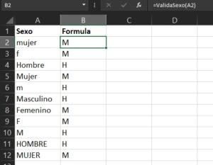 resultado de formula para ejecutar instrucción según valor en excel