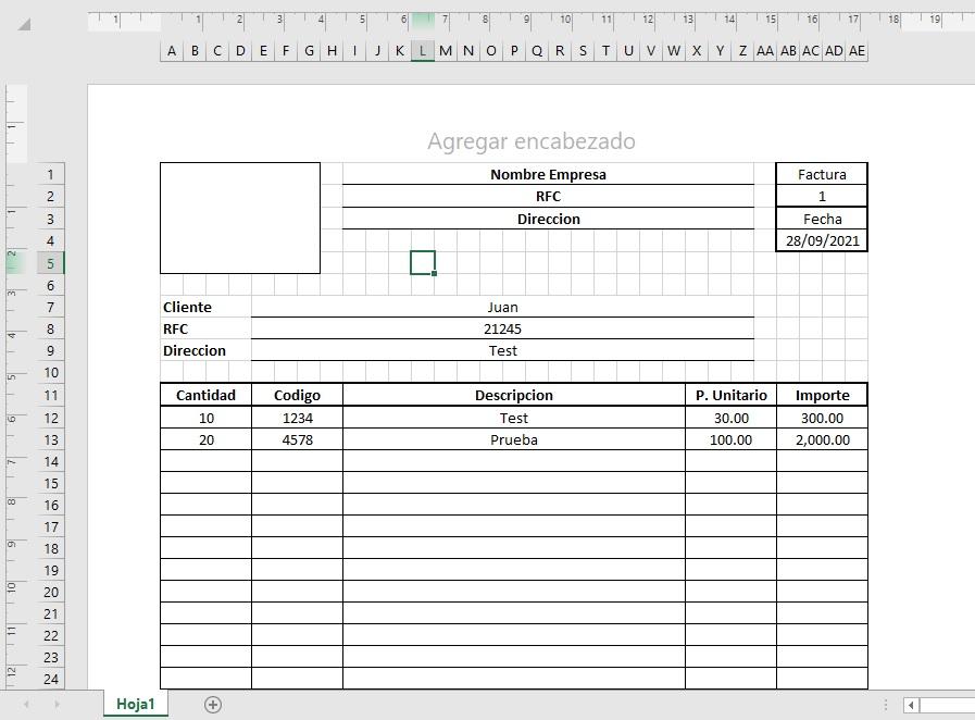Formato de Factura - Remision en Excel